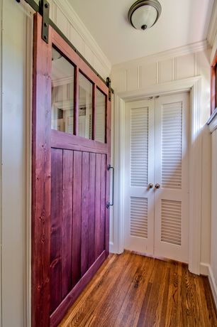 Country Mud Room with Mohawk hardwood : greyson distressed country natural, Hardwood floors, Louvered door, Crown molding