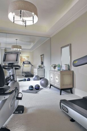 Traditional Home Gym with Paint, Chandelier, Floor to ceiling mirrors, Standard height, Crown molding, Carpet