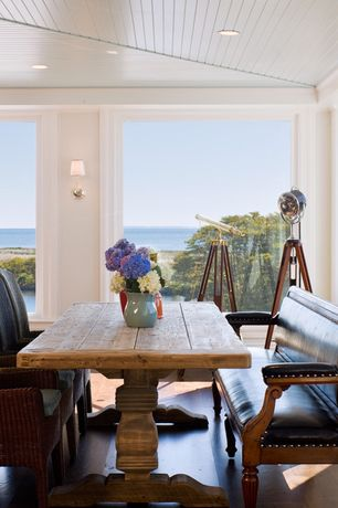 Eclectic Dining Room with picture window, Paint, Hardwood floors, can lights, Standard height, Beadboard ceiling, Wall sconce
