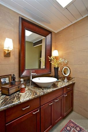 Contemporary Full Bathroom with Vessel sink, Wall Tiles, Complex granite counters, Complex Granite, ceramic tile floors