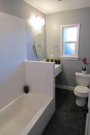 Contemporary Full Bathroom with Limestone, Contemporary Wall Mounted Towel Rings, specialty door, slate tile floors