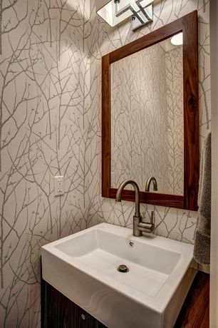 Contemporary Powder Room with interior wallpaper, Flush, Wood counters, European Cabinets, Powder room, Vessel sink