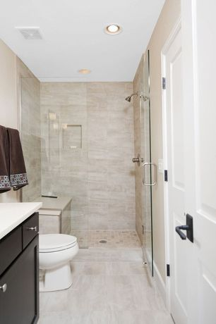 Contemporary 3/4 Bathroom with Flat panel cabinets, Wall sconce, Arizona Tile Silver Beige Vein Cut Limestone Tile, Flush