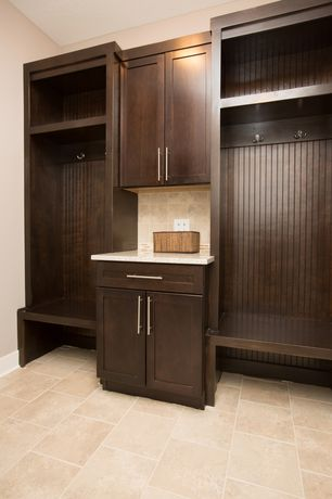 Modern Mud Room with Quartz counters, Amerock bp19541ss pull, stainless steel, Beadboard, Built-in bookshelf