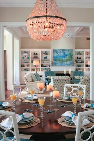 Traditional Dining Room with Aldridge Capiz Chandelier, Paint, Chandelier, Carpet, Crown molding, Standard height