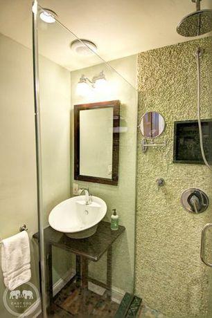 Eclectic 3/4 Bathroom with Rain shower, Hardwood floors, frameless showerdoor, Wood counters, Vessel sink