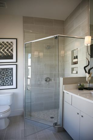 Contemporary Full Bathroom with frameless showerdoor, Wall sconce, Full Bath, European Cabinets, picture window, Flush