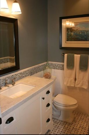 Traditional Powder Room with Complex marble counters, Arizona Tile Italian Cream Marble, Flush, Powder room, Undermount sink