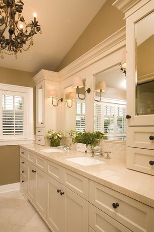 Traditional Master Bathroom with Double sink, Master bathroom, Oregon tile and marble jania cream marble counter top, Flush