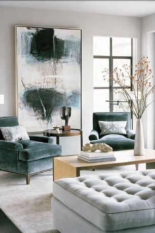 Contemporary Living Room with Tufted chaise, Open angles coffee table, Emmet cotton velvet club chair, teal, Hardwood floors