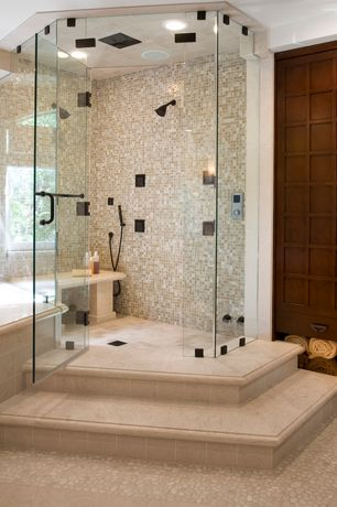 Contemporary Master Bathroom with MARAZZI - Montagna Lugano 12 in. x 12 in. Porcelain Mosaic Floor and Wall Tile