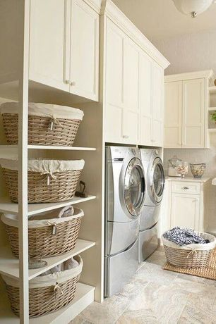 Country Laundry Room with Side by side laundry, Laundry pedestal, Wicker basket with liner, Stainless steel cup pull