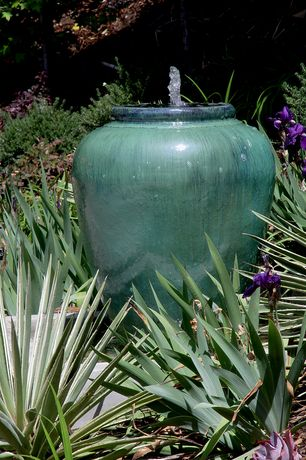 Eclectic Landscape/Yard with Design toscano burnt umbra ceramic jar garden urn fountain, Water feature, Water fountain
