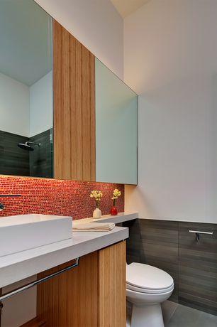 "Contemporary Master Bathroom with Rain shower, Whitehaus white isabella 31-1/2"" rectangular porcelain vessel sink"