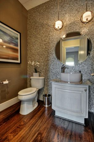 Contemporary Powder Room with Pendant light, Paint, Powder room, Frameless Round Beveled Mirror, Vessel sink, Casement, Flush