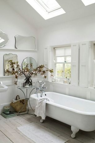 Cottage Full Bathroom with Paint 2, Skylight, Clawfoot, Pedestal sink, Full Bath, Hardwood floors, Wainscotting, Paint