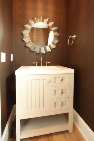 Cottage Powder Room with Martha stewart living seal harbor 30 in. vanity in sharkey gray with vanity top in alpine white