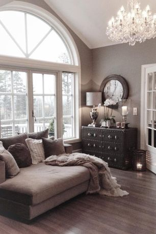 Contemporary Living Room with French doors, Casement, Palladian window, Home decorators collection - steamer trunk cabinet