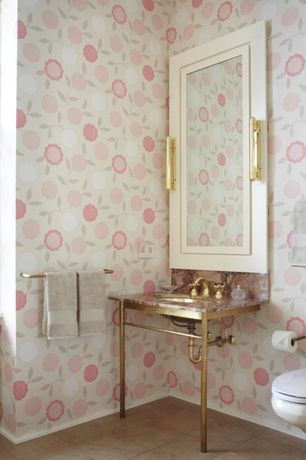 Traditional Powder Room with Graham & Brown - Mia Pink, Console sink, Complex granite counters, interior wallpaper
