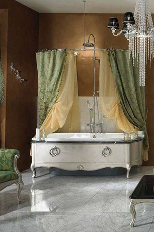 Eclectic Full Bathroom with curtain showerdoor, Paint, Marble floor tile, Shower, Bathtub, stone tile floors, Clawfoot