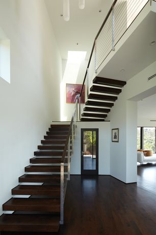 Contemporary Staircase with Chandelier, Loft, Hardwood floors, Floating staircase, High ceiling