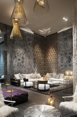 Contemporary Great Room with interior wallpaper, Pental - kayrus satin granite, Pendant light, High ceiling, Laminate floors
