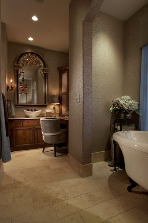 Traditional Master Bathroom with Emser, Trav Chiseled Scabos 16 in. x 24 in. Travertine Floor and Wall Tile, Chandelier