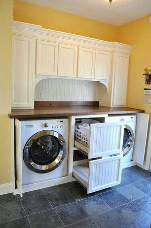 Cottage Laundry Room with Paint, Undermount sink, Resilient vinyl tile flooring, stone tile floors, Standard height, Paint2