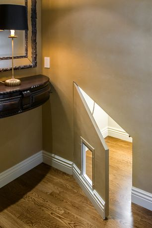 """Traditional Hallway with Hardwood floors, Bellawood  3/4"""" x 3-1/4"""" matte rustic red oak, specialty door"""