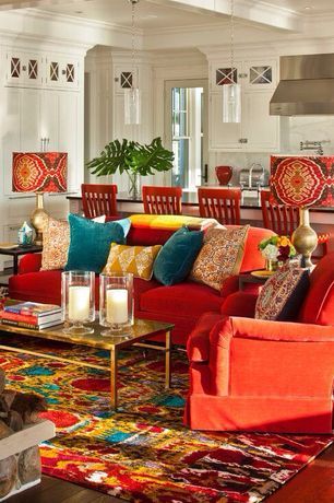 Eclectic Living Room with Harper Coffee Table, Box ceiling, Creative Lampshades Drum Lamp Shade Colorful Suzani Fabric