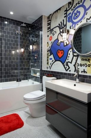 Contemporary Kids Bathroom with Shower, tiled wall showerbath, Undermount sink, Rain shower, Flush, Wall sconce, Wall Tiles