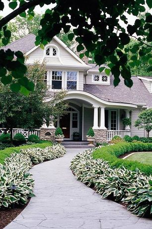 Traditional Landscape/Yard with exterior stone floors, Arched doorway, Stamped Concrete Walkway, Flagstone path, Pathway