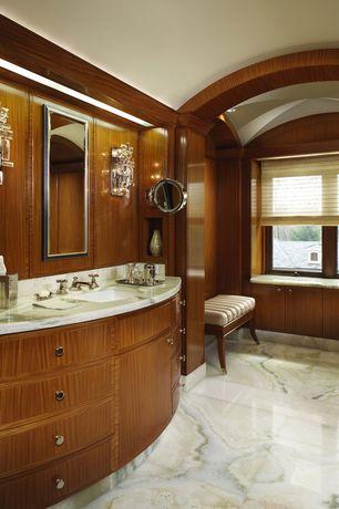 Traditional Master Bathroom with Bathtub, can lights, High ceiling, drop in bathtub, Flush, European Cabinets, Casement
