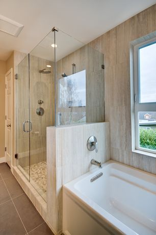 Traditional Master Bathroom with Jeffrey Court - Emperador River Rocks 12 in. x 12 in. x 8 mm Marble Mosaic Floor/Wall Tile