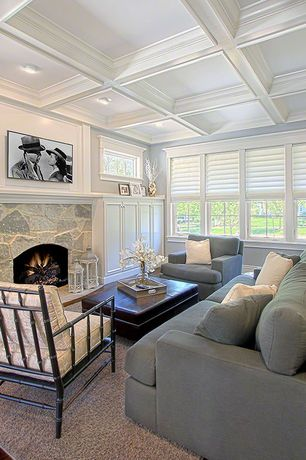 Traditional Living Room with Box ceiling, stone fireplace, LDC Home Noir Bamboo Relax Chair, Crate & Barrel Axis II Chair