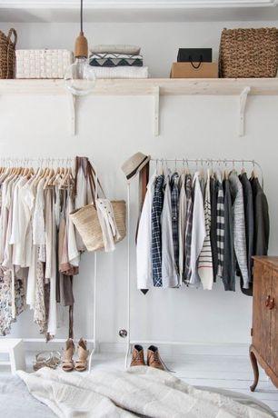 Eclectic Closet with Pendant light, Standard height, Hardwood floors