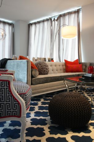 """Contemporary Living Room with Celebration hand knitted pure cotton braid pouf, """"panthea"""" rug"""