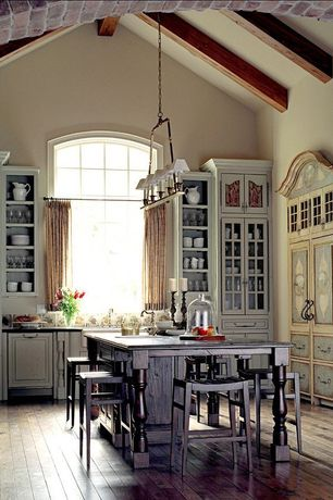 Country Kitchen with dishwasher, Kitchen island, Glass panel, Paint 1, Pendant light, Inset cabinets, Farmhouse sink