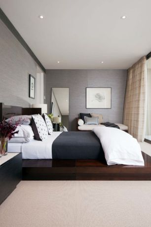 Contemporary Master Bedroom with Escape Modern Platform Bed with Flare Panel Headboard, Woven Wallpaper, Carpet