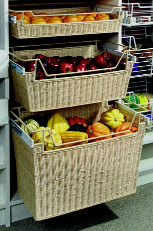 Contemporary Pantry with Rev-A-Shelf Rattan Organizer Basket with Canvas Liner Sink & Base Accessories