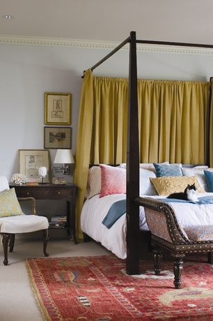 Eclectic Master Bedroom with Karges 4748 Isabella Bench, Crown molding, Carpet, Noir Blanch Pale Arm Chair