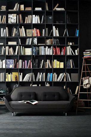 Contemporary Living Room with Paint, Kallax shelving unit, herringbone tile floors, Built-in bookshelf, High ceiling, Carpet