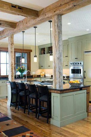 Craftsman Kitchen with Soapstone counters, Kitchen island, Linon Torino Bar Stool, Undermount sink, L-shaped, Soapstone