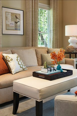 Contemporary Living Room with Carpet, High ceiling, double-hung window, Paint