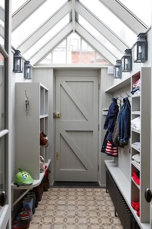 Contemporary Mud Room with Skylight, Exposed beam, Wall sconce, Standard height, specialty door, French doors, Transom window