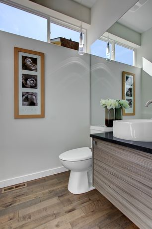 Contemporary Powder Room with Hardwood floors, Pendant light, Soapstone counters, European Cabinets, Vessel sink, Flush