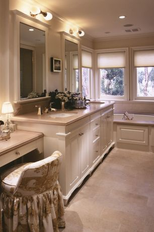 Traditional Master Bathroom with Arizona Tile, Emperador Light, Marble., Aristocraft White Nantucket Cabinets