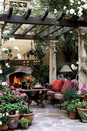 Traditional Patio with exterior stone floors, Clara Outdoor Red Throw Pillows Made with Sunbrella, Trellis