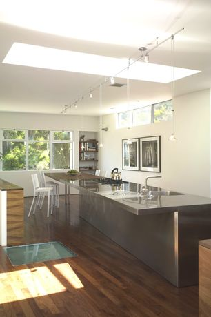 """Contemporary Kitchen with Brooks Custom 3"""" Stainless Steel Countertop with Integral Sink, Eased Square Edge, Undermount sink"""