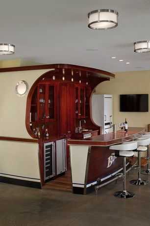 Eclectic Bar with Wall sconce, flush light, Powell white faux leather barrel and chrome adjustable height bar stool